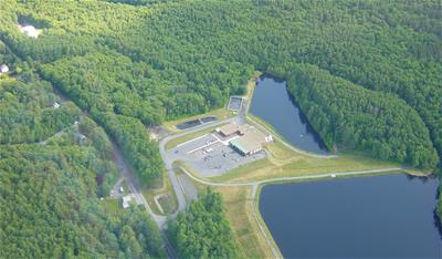 An aerial view of the water treatment facility