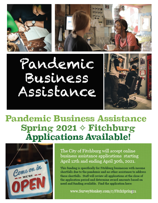 Flyer: photos of businesses. Pandemic Business Assistance, Fitchburg, Spring 2021.